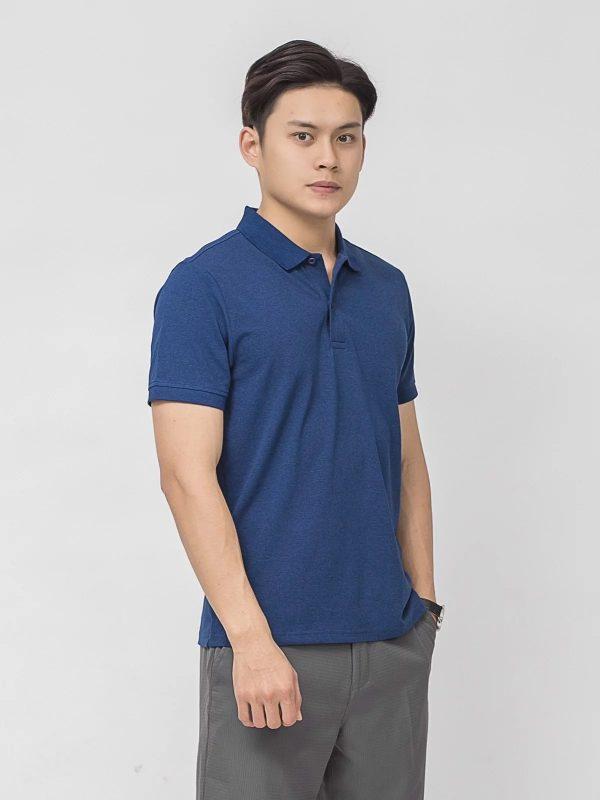 áo thun polo nam đồng phục vải CVC màu xanh dương